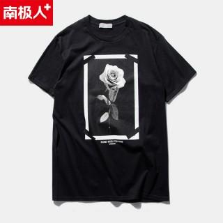 2016夏装新款玫瑰印花宗教花卉设计款t恤