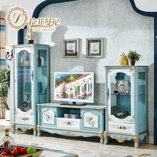 电视柜简约地中海手绘欧式电视柜美式住宅储物柜sh